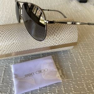 Jimmy Choo Silver Aviators with Crystal Accents.